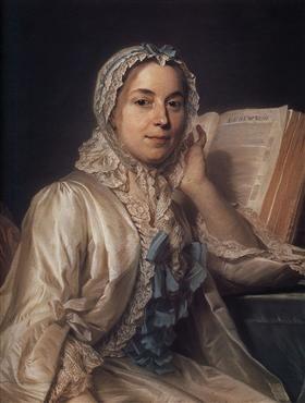 Mademoiselle Ferrand meditating on Newton - Maurice Quentin de La Tour