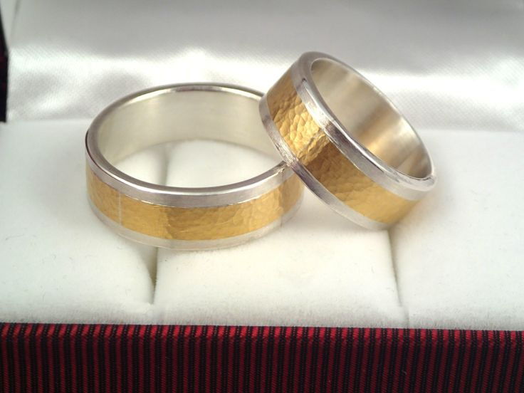 Beautiful gold and silver wedding rings with a hammered surface. by TomisCraft on Etsy