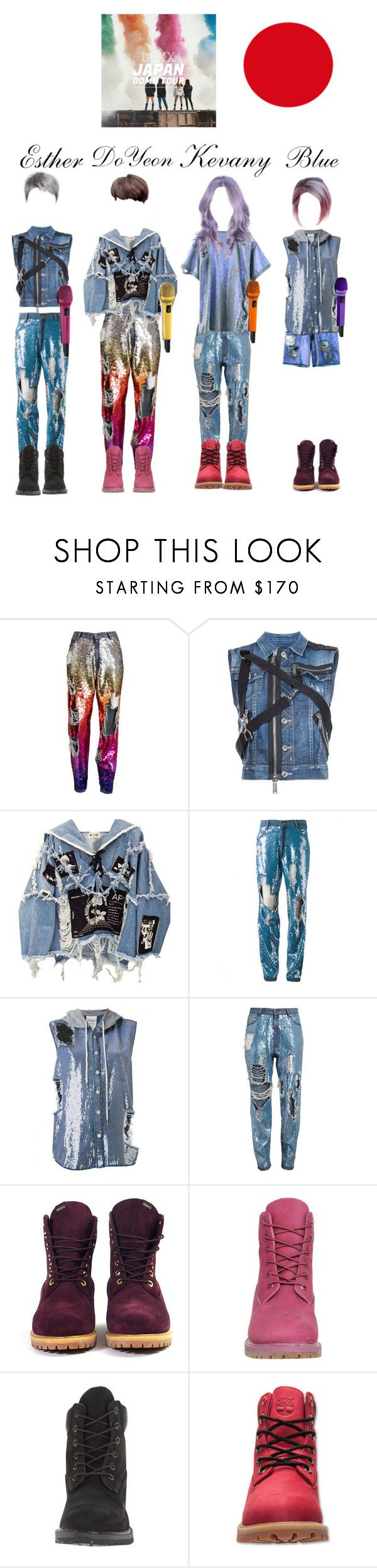 """""""DLXX THE REVOLUTION PART 1 JAPAN DOME TOUR : """"NISSAN STADIUM"""" opening"""" by officialdlxx ❤ liked on Polyvore featuring Ashish, Dsquared2, BLK DNM, VFiles, Timberland and Sennheiser"""