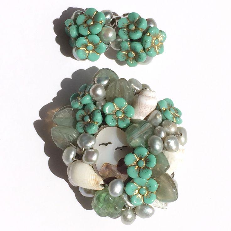 Vintage style brooch and earrings
