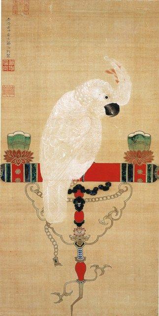 """""""Parrot"""" 鸚鵡図 Jakuchu Ito 伊藤若冲"""