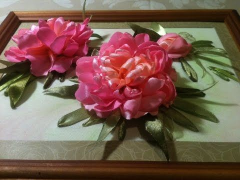 #Вышивка #лентами. #Пион. Часть 1 - вышивка цветка пиона. - YouTube