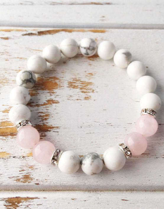Help to Release Anger ~ Genuine White Howlite & Rose Quartz Bracelet w/ Swarovski Crystal Spacers