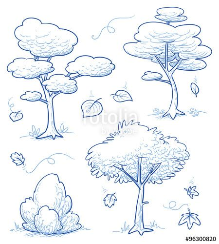 Vektor: Set of cute cartoon trees, bush, forest with falling autumn leaves. Hand drawn doodle vector illustration.
