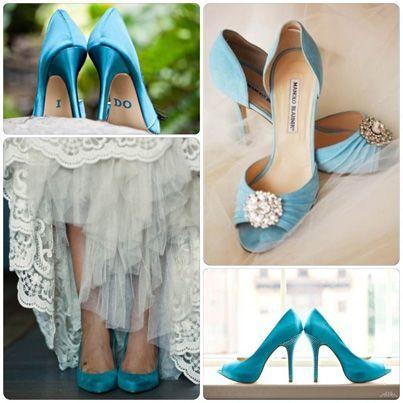 Zapatos de novia color turquesa #azul #boda: