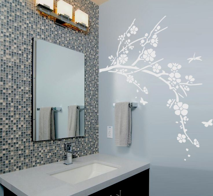 17 best ideas about oriental decor on pinterest asian for Cherry blossom wall mural stencil