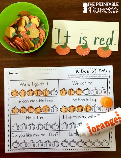 Great idea for concepts of print! Write on sentence strips and use themed manipulatives to count the words in the sentence.