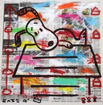 "Gary John original Los Angeles street art.   Back to Reality   22x23""   Acrylic Paint on LA Times Newspaper  #streetart #garyjohn #snoopy #affordableart #losangelesgallery #artspacewarehouse"