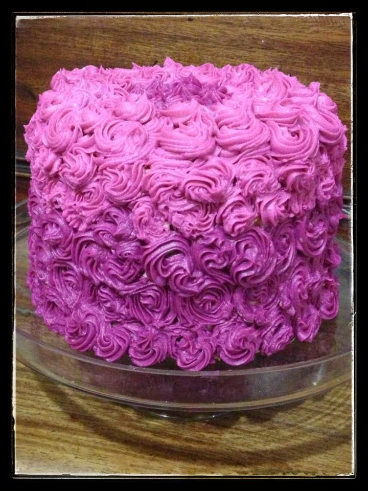 Rose cake - 3 layers of sponge covered in buttercream roses for Gran's 96th birthday.