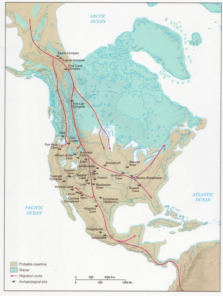 ANCIENT CULTURES and LIFESTYLES    CLOVIS HUNTER-GATHERER (13K bce)    The Beringia Theory of the ice-free corridor and conflicting new data. Multiple waves? Multiple Neolithic Revolutions independent of Eurasia.
