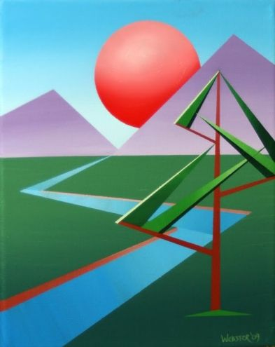 Abstract Planet X Landscape Painting by Northern California Artist Mark Webster, painting by artist Mark Adam Webster