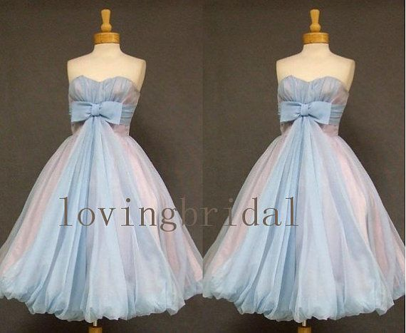 2014 Vintage Tulle Bow Evening Dress Formal Bridesmaid Prom Wedding Party