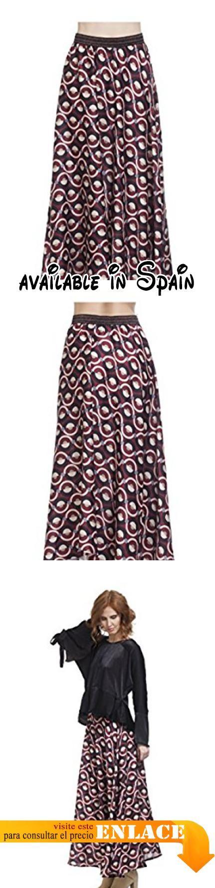 B076HBHVXN : TANTRA - Falda ROMINA - Mujer - UNICO - Rojo. Falda larga estampada. Con elástico en la cintura. Efecto asimétrico. Acabado con solapa. Longitud 120cm
