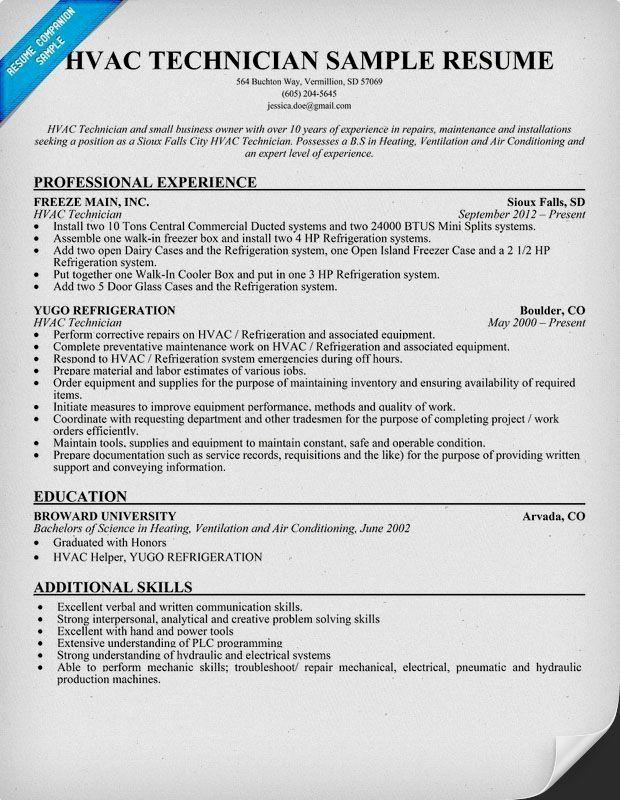 Hvac Technician Resume Sample Monster Com Unforgettable Hvac And Refrigeration Resume Examples To St Hvac Technician Sample Resume Sample Resume Cover Letter