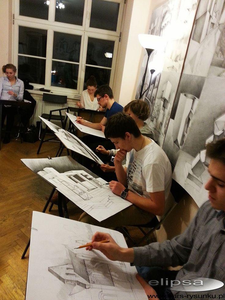 Rysunek w trakcie zajęć kurs rysunku Elipsa w Krakowie