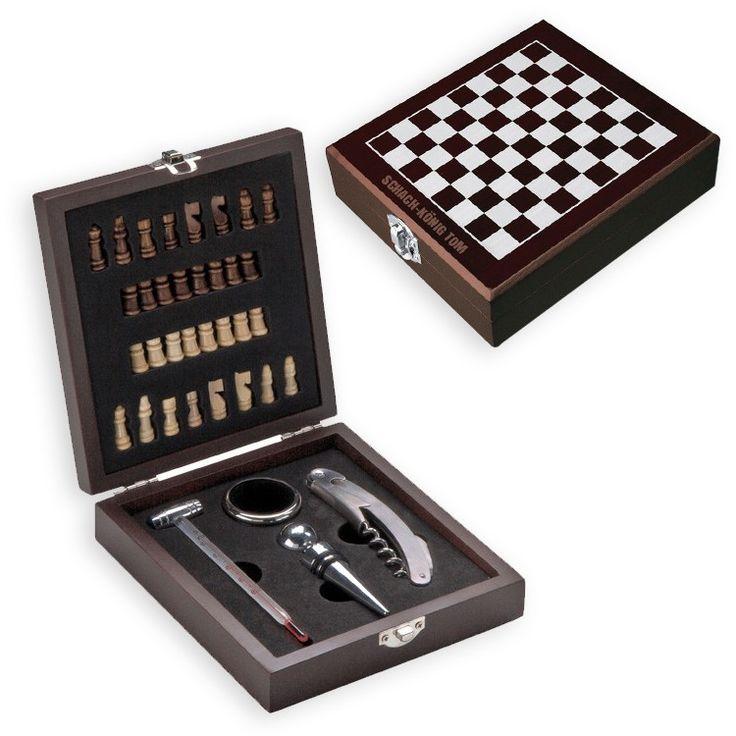 Holzkästchen Schach und Wein mit Gravur geöffnet