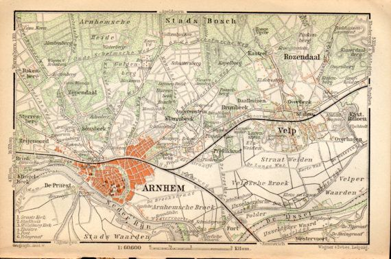 1897 Arnhem Netherlands Antique Map Vintage by Craftissimo on Etsy