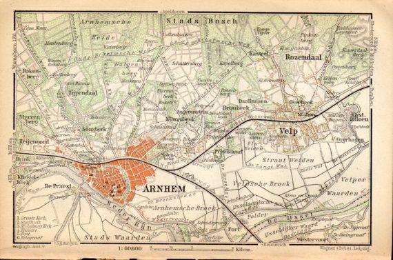 1897 Arnhem Netherlands Antique Map Vintage by Craftissimo on Etsy