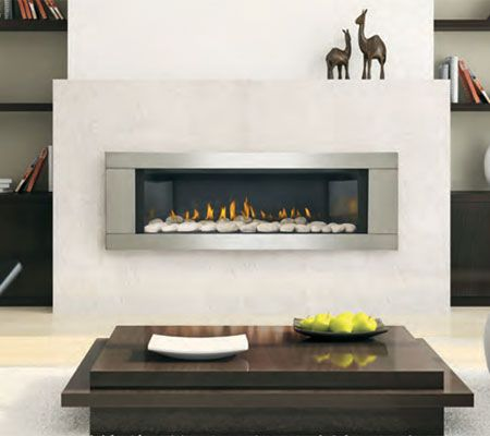 The Napoleon LHD45 is a linear fireplace that can be customized with different colored glass embers or river rock. Add a black or stainless steel surround and it will be an attention getter for a great room, den or living room. Definitely a fireplace that calls attention to itself. http://fireplacepro.com/lhd45.html