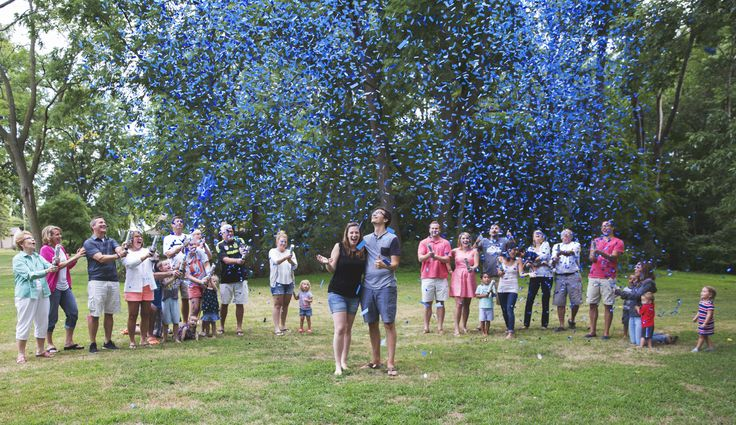Loved these cannons - SO MUCH FUN. They came in less than a week from ordering, and were disguised in a white, unlabeled cannon so no DIY needed.  Gender Reveal // Baby Reveal // Confetti // Confetti Cannons // Easy and Fun from SuperiorCelebrations.com