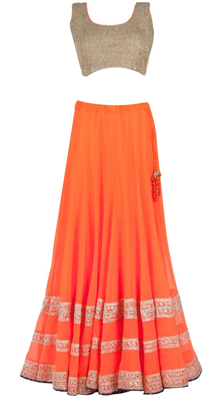 Neon orange lehenga with dull gold crushed blouse available only at Pernia's Pop-Up Shop.