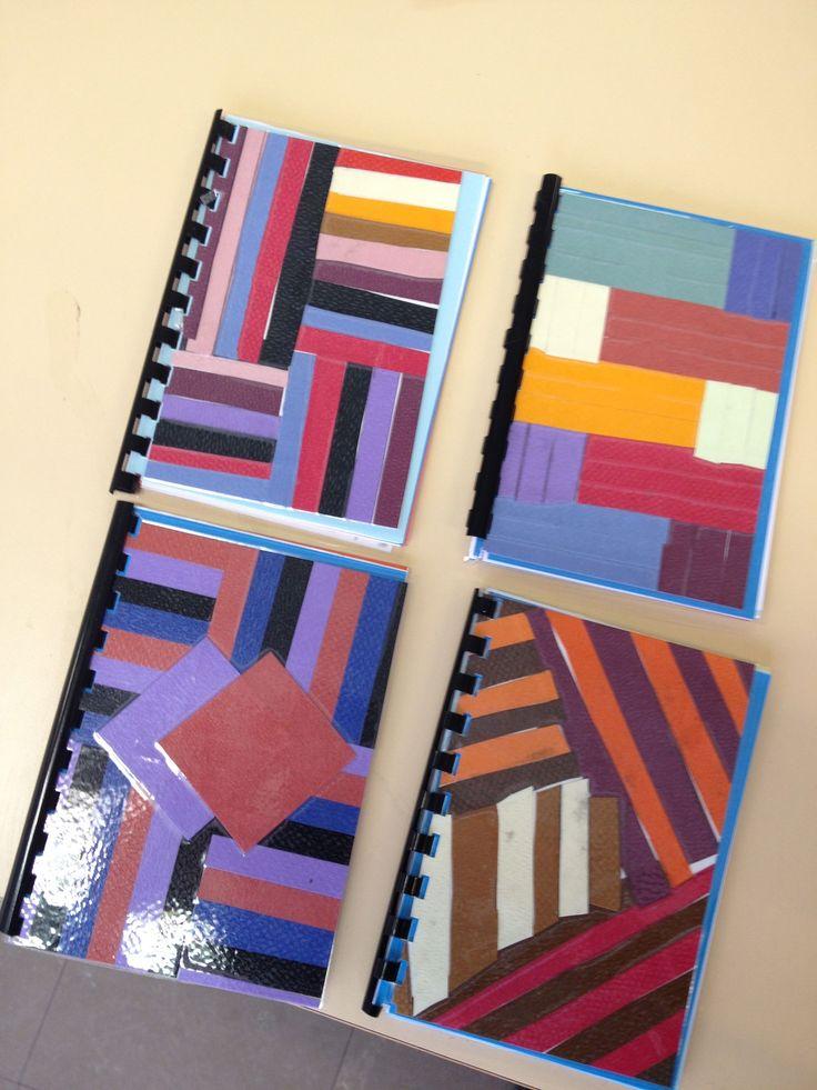 Un joli carnet à réaliser soi-même !  J'ai proposé à mes élèves de réaliser les 2 couvertures à plastifier : couv. avant avec des bandes de papier colorées, page arrière composition libre !
