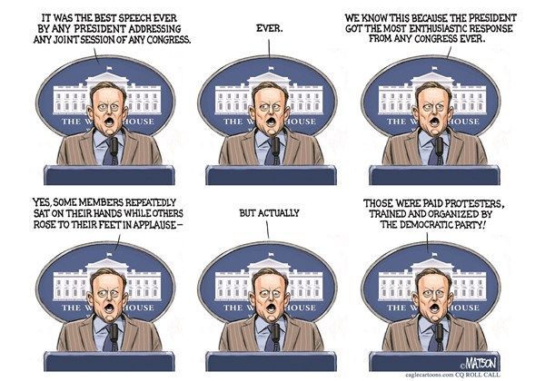 RJ Matson - Roll Call - Sean Spicer Press Briefing After Trump Speech-COLOR - English - Sean Spicer Press Briefing After Trump Speech,Sean,Spicer,White,House,Press,Secretary,President,Trump,Speech,Joint,Session,Congress,Politics,Paid pfrotesters,Democratic,Democrats,Party,Republicans