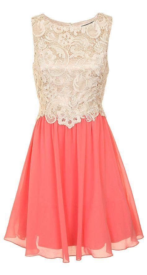 Cream + Coral Lace Fit and Flare Dress