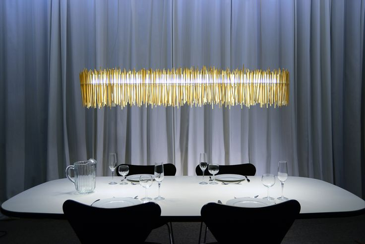 """HAYASHI – japanese for """"little forest"""". with over 600 chopsticks the lamp by ABSOLUT LIGHTING corresponds to its name. Buy at https://www.radius-design.com/lamps/wallceilinglamps/hayashilamp/ #light #lamp #design"""