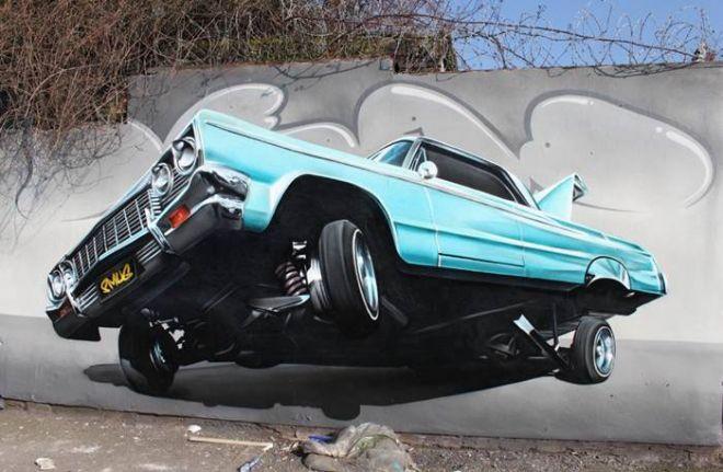 arte de la pared calle 3d