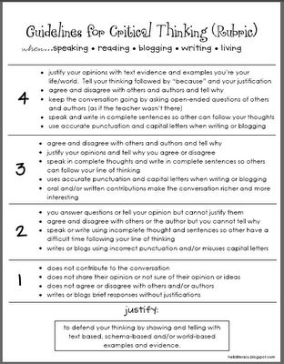 Guidlines For Critical Thinking  when.... reading, blogging, and writing