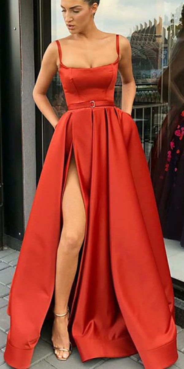 f242b003cb SPAGHETTI STRAPS A-LINE SWEEP TRAIN SPLIT FRONT RED PROM DRESS WITH BELT  PG831  promdresses  eveningdress  split  red  promdress  2019promdress