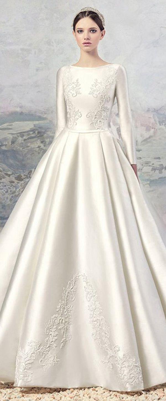 Allure Satin Bateau Neckline A-Line Wedding Dresses With Beaded Lace Appliques
