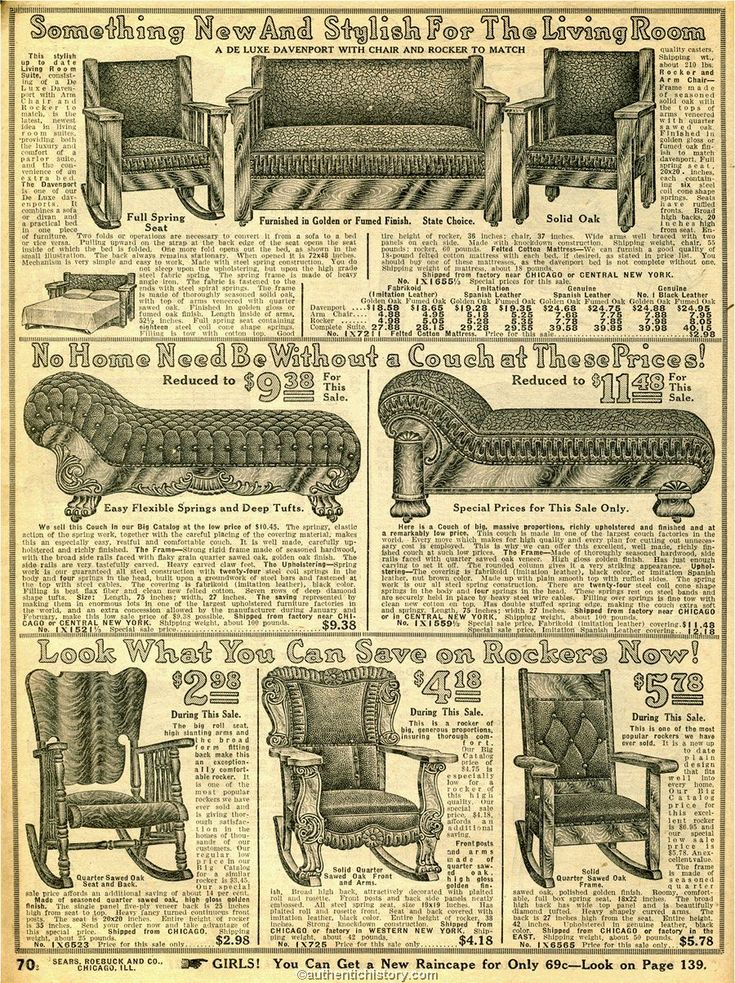 1914 Sears Household Catalog fancy living room furniture