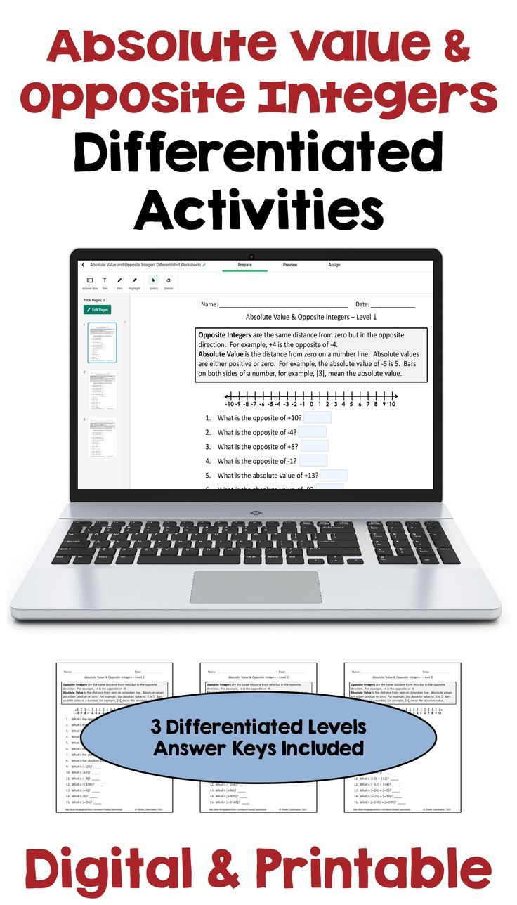 Absolute Value And Opposite Integers Digital And Printable Worksheets Differentiation Math Teaching Integers Differentiation Activities [ 1288 x 736 Pixel ]