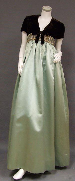 1960s Chocolate Velvet and Aqua Satin Evening Gown