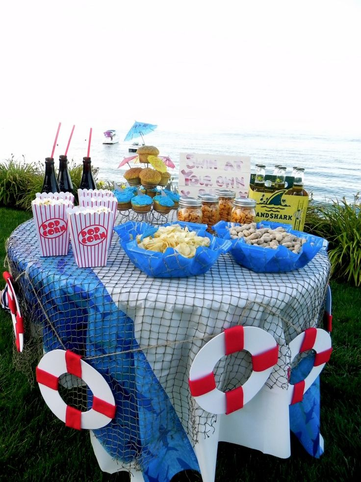 Best 25 shark party decorations ideas on pinterest for Fish net decoration ideas