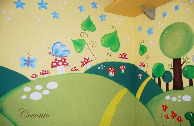 Un mural mágico de Coconic, pintado a mano sobre gotelé, para el pequeño Antonio...un bosque encantado.