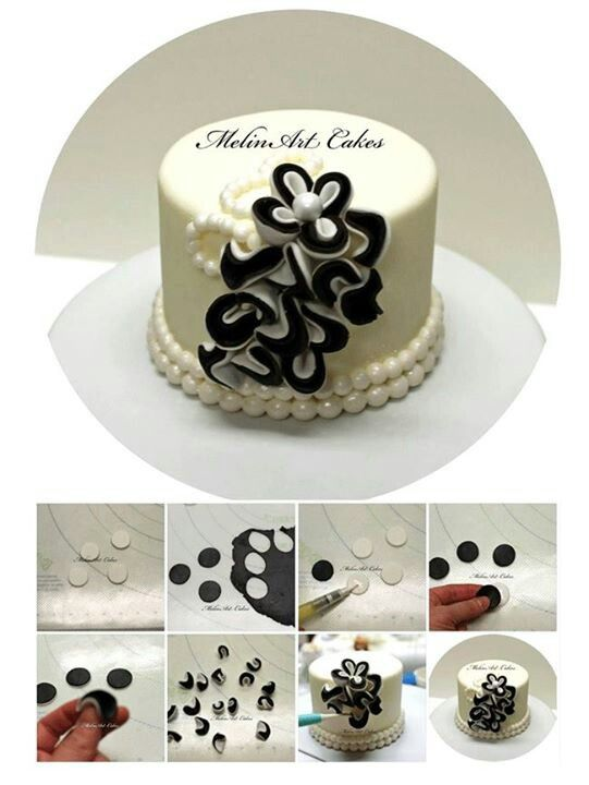 Two Color Ruffles Cake Picture Tutorial