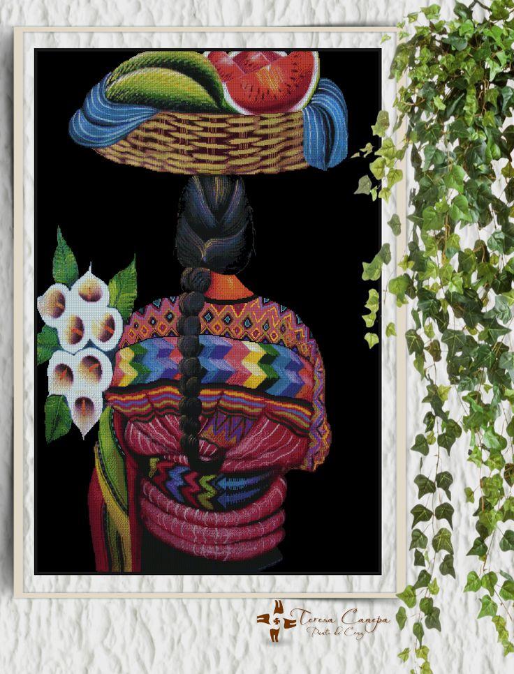 """✄ PATRON PUNTO CRUZ EN VENTA  """"La Frutera""""   Para bordar con Hilos DMC  380 Puntos de Ancho  500 Puntos de alto  - Medida aprox, del bordado, si es en tela Aida de 14:   69 cm ancho x 92 cm de alto  Basado en pintura de Pedro Sosof http://puntocruzandino.weebly.com/"""