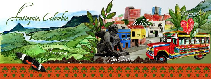 Ilustracion mapa de Antioquia