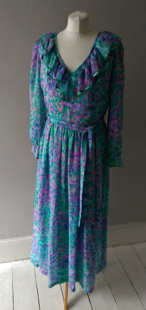 VINTAGE RETRO SUKY WOMENS BEAUTIFUL BOHO FLORAL 60'S 70S PARTY FANCY DRESS 12 14