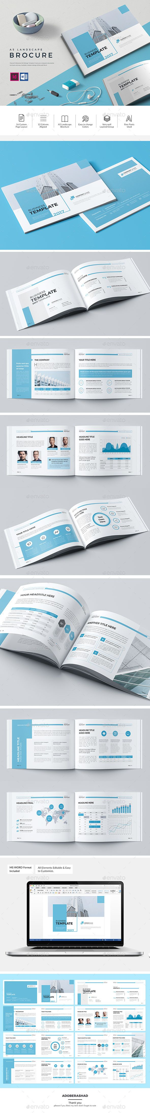 The Blue Landscape Brochure — InDesign INDD #brand #professional • Available here ➝ https://graphicriver.net/item/the-blue-landscape-brochure/20619186?ref=pxcr