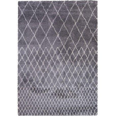 Un tapis d'inspiration berbère avec des losanges gris et blanc pour une déco chic et bohème. 100% polypropylène de la marque Decoway chez Itao