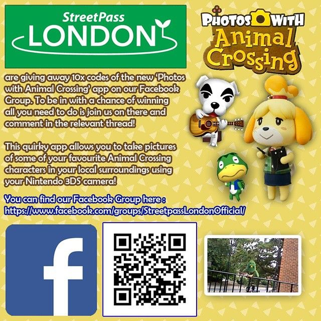 We are giving away 10x codes for new 3DS app Photos with Animal Crossing over on our Facebook page. To be in with a chance of winning you simply join the group then make a comment in the relevant thread. Full rules available on the group.  Get involved : https://goo.gl/w3QEba  #StreetPassLondon #StreetPassUK #StreetPass #3DS #Nintendo  #Facebook #FacebookGroups #NintendoUK #NintendoEurope #3DSMeet #London #AnimalCrossing #PhotosWithAnimalCrossing #AugmentedReality #exclusive #free #giveaway