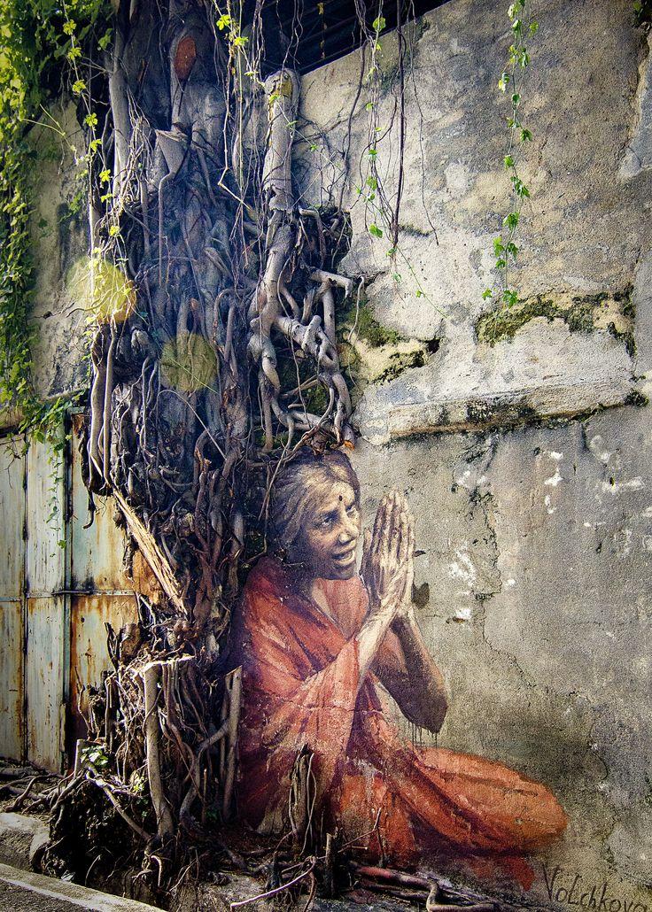 https://flic.kr/p/CAhv9d | Оld Indian woman / 印度老妇 | 俄罗斯画家Julia Volchkova, 茱莉亚展现手艺献壁画,《印度老妇》。  Оld Indian woman. Street art. Jalan lumut, Georgetown Malaysia Artist Julia Volchkova.