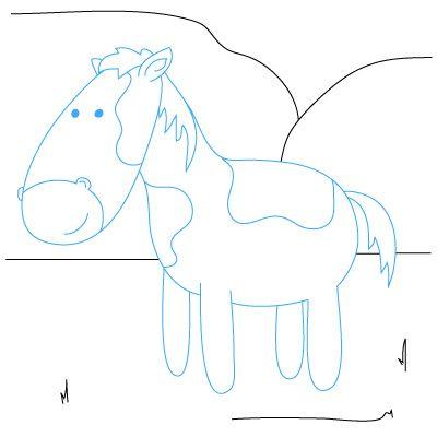 how to draw a cartoon horse head