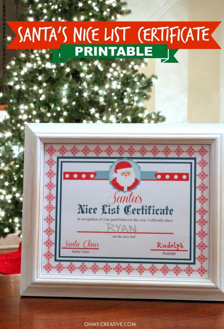 What a treat and fun Christmas tradition for the kids to find out they made Santa's Nice List! Print this Santa's Nice List Certificate signed by Rudolph and Santa himself - a cute Christmas Printable  |  OHMY-CREATIVE.COM #christmasfun