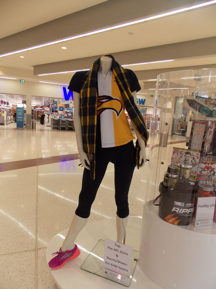 Eagles top and scarf from The AFL Store with leggings and sneakers from Jim Kidd Sports- August 2013.