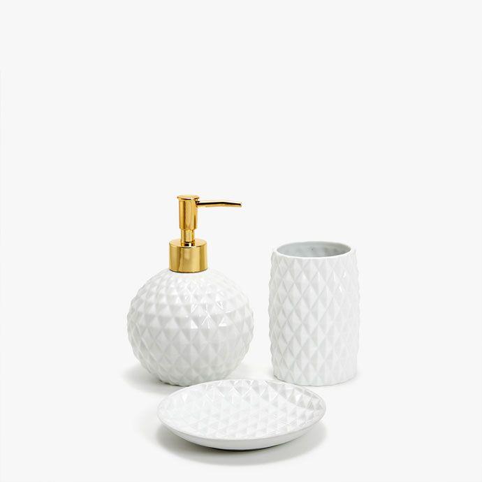 Imagen Del Producto Set De Bano Ceramica Relieve Geometrico